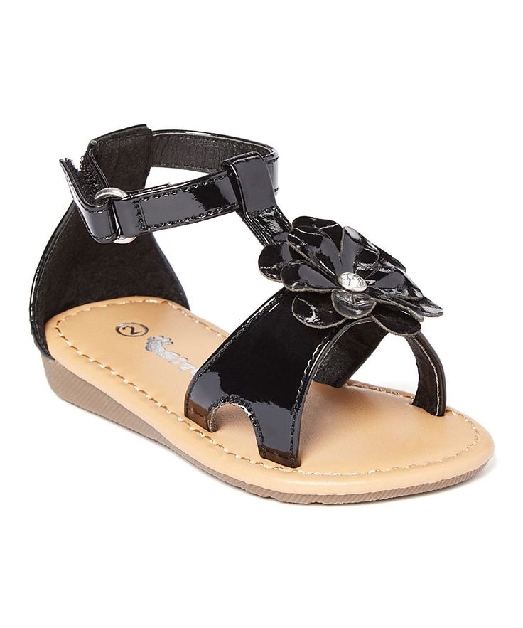 Black Flower-Embellished Sandal