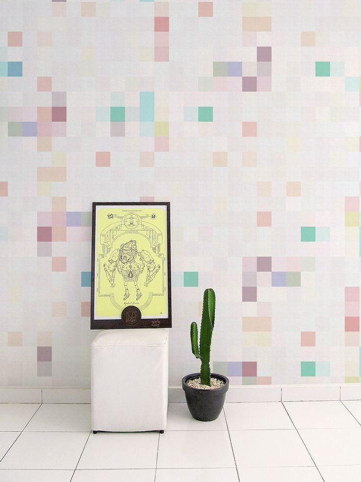 Papel de Parede Adesivo Pixel Brilho   Collector55 - Collector55