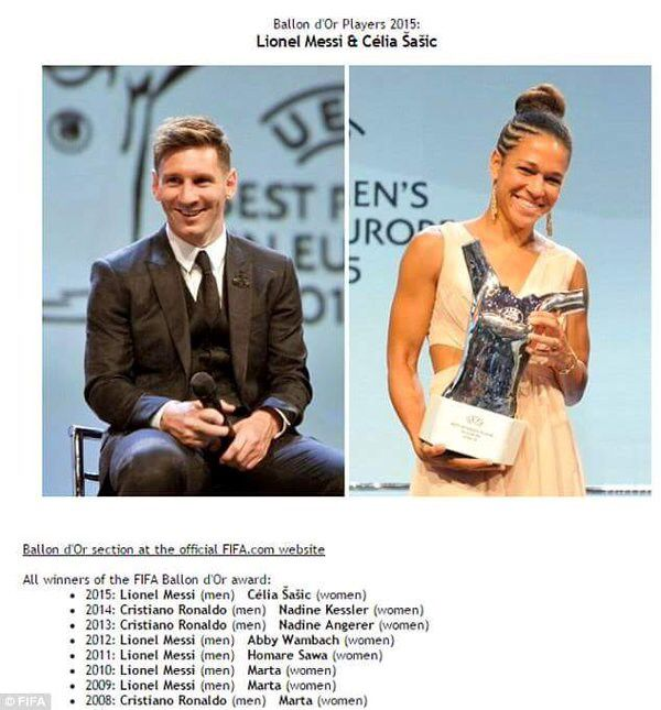 The FIFA website accidentaly leaked Lionel Messi and Celia Sasic as 2015 Ballon d'Or winners