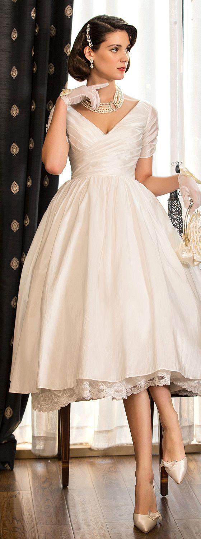 A-Line Princess V-neck Tea Length Taffeta Wedding Dress with Lace by LAN TING BRIDE®
