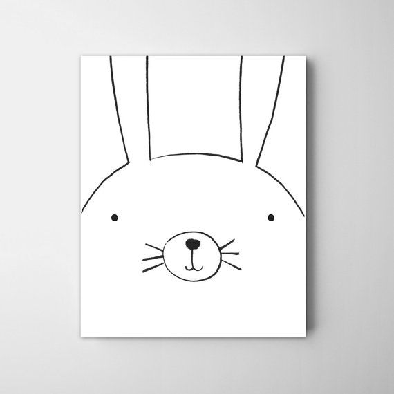 Modern rabbit art decor Little rabbit nursery by CocoandBlu