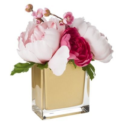 Threshold $19.99; Ranunculus and Peony Arrangement in Gold Glass Vase Target for bookcase in office