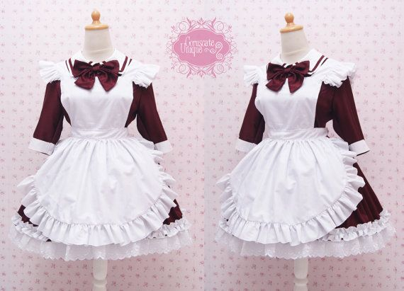 Custom in Your Size & Color Two Way Maroon Maid Dress And White Apron in Simple Victorian Style Dress - Kawaii Maid Costume by CoruscateUnique