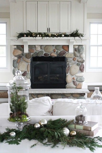Pretties and Poises Living Room at Christmas Want the stone fireplace!