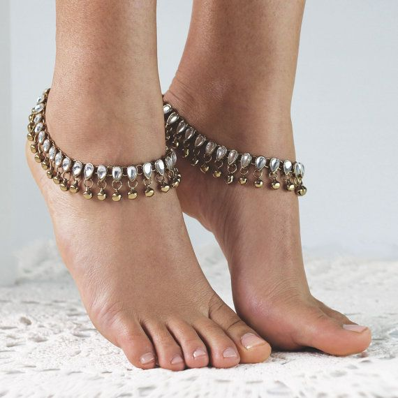 Beautiful Anklets. Boho style. Silver and Gold with bells.