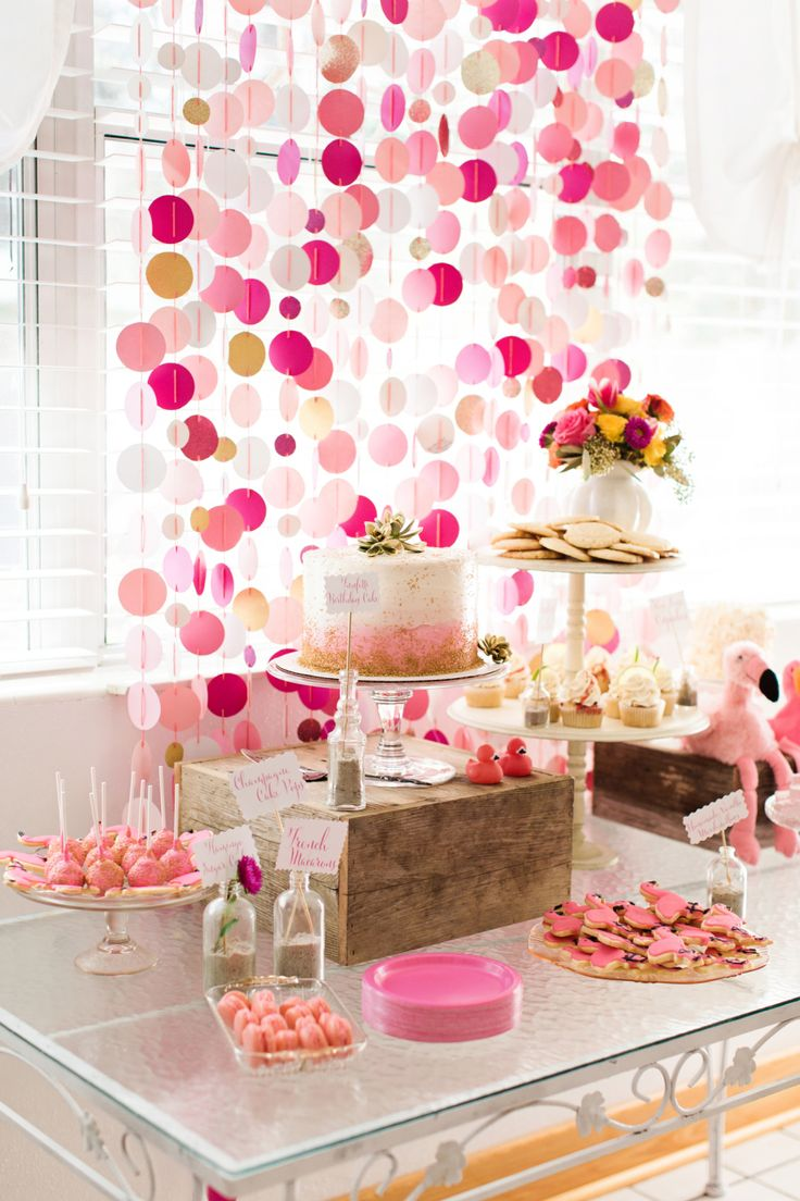 Photography: Brooke Images - www.brookeimages.com Photography: Melissa Robinson Photography - www.melissarobinsonphotography.com/ Catering: Family - Na   Read More on SMP: http://www.stylemepretty.com/living/2015/03/09/flamingo-first-birthday-bash/