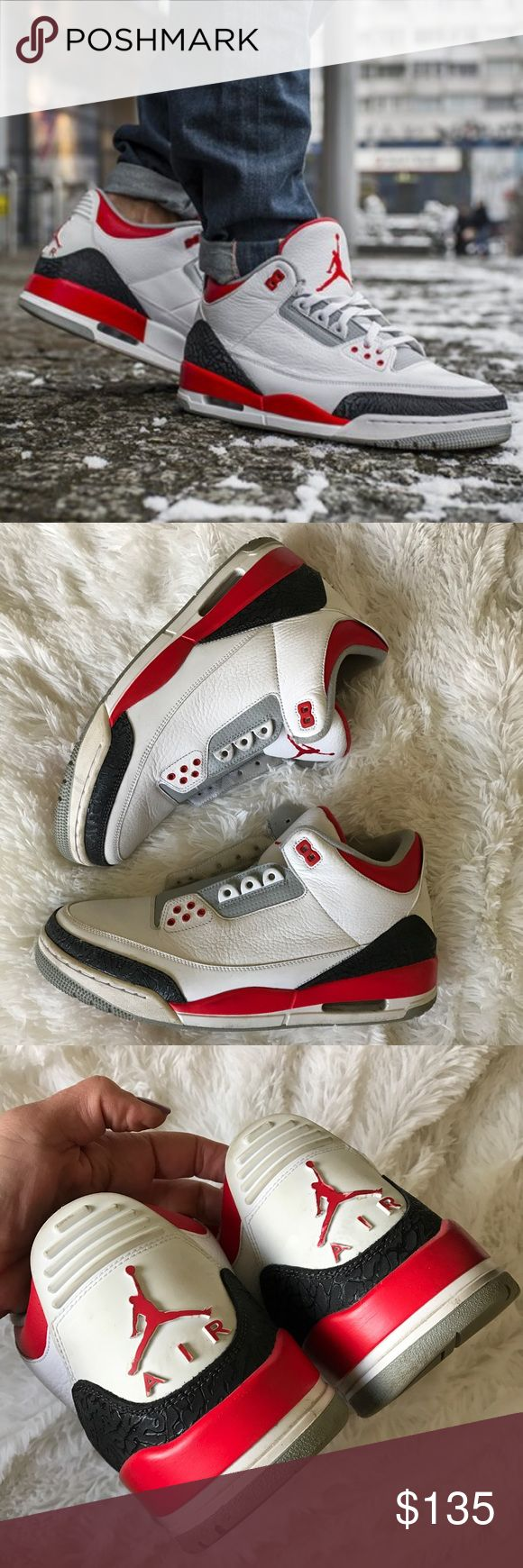 Nike AIR JORDAN RETRO 3 'FIRE RED' 2013 sz 12 men 100% authentic used Nike AIR JORDAN RETRO 3 'FIRE RED' 2013 SIZE 12 men's ...SELLING AS IS! No box. NO shoe strings. NO FLAWS. Just needs a good cleaning. Please use the zoom feature to inspect the shoe prior to purchase. Outsole paint is NOT cracked or chipped. No yellowing, minor creasing. Smoke free home. Bundle items to save. REASONABLE OFFERS WILL ONLY BE CONSIDERED THROUGH THE OFFER BUTTON. offers in comments will be IGNORED. Nike Shoes…