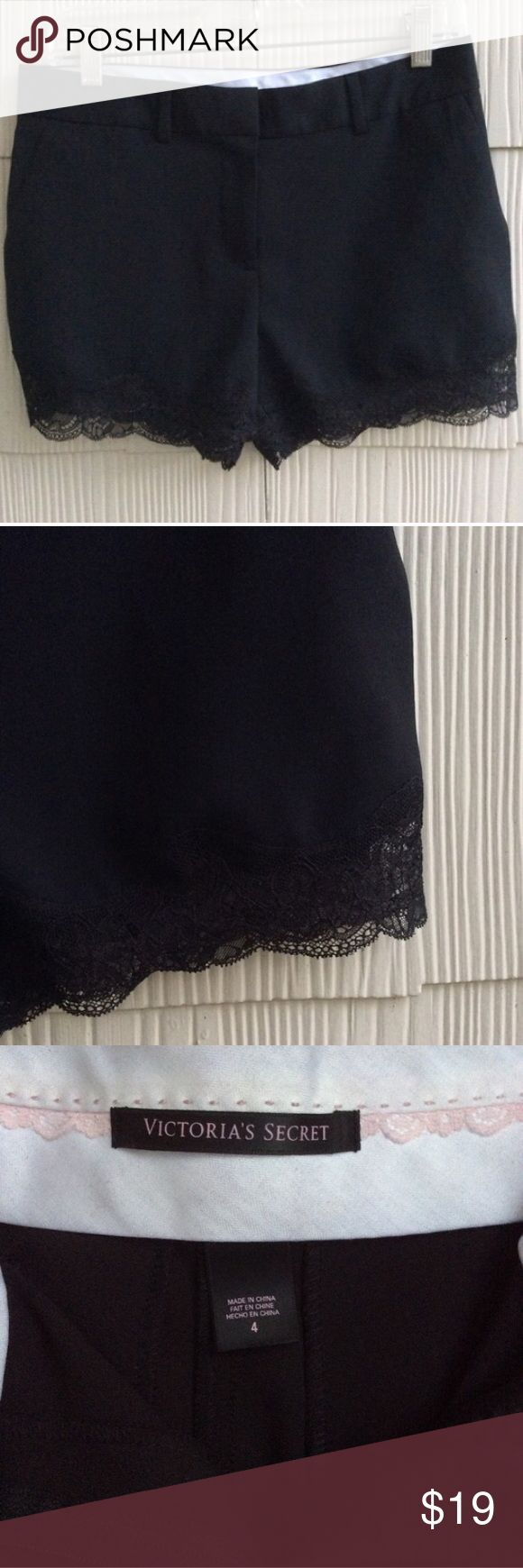 Victoria Secret Lace trimmed Shorts Black Victoria's Secret dress shirts with lace along the hem. Victoria's Secret Shorts