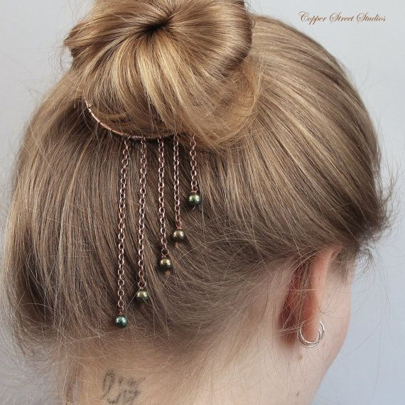 Bun Cuff, Hair Cuff, Wire Hair Bun Holder, Bun Ring, Copper Chain & Green Blue Purple Beads, Unusual, Unique Hair Accessories for Women Gift