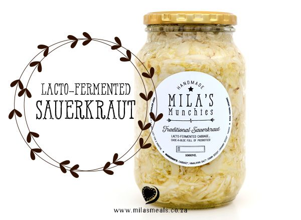 Mila's Meals Sauerkraut Recipe.  Sauerkraut works wonders for your digestion, producing amazing amounts of probiotics and other disease-preventing compounds.  Recipe from my cookbook Mila's Meals: The Beginning & The Basics.