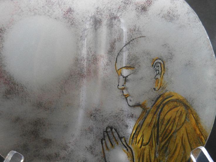 gebrandschilderd op glazen bord Tibetaanse monnik