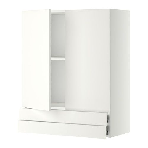 METOD Wall cabinet w 2 doors/2 drawers - white, Fö, Häggeby white, 80x37x100 cm - IKEA