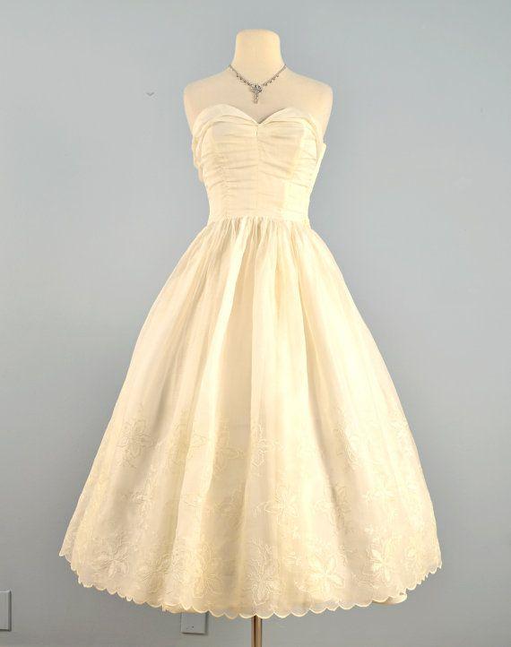 Vintage 1950s Wedding Dress Tea Length Ivory Organza