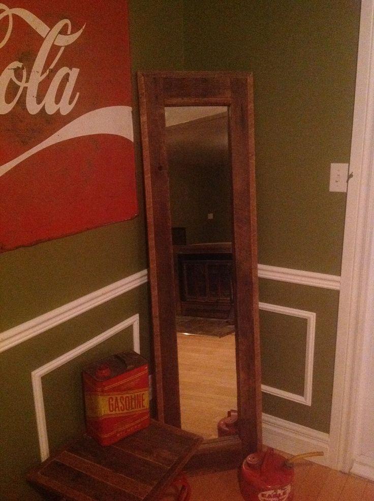Miroir bois de grange 70x20 vernis mat desrochers du for Miroir bois de grange
