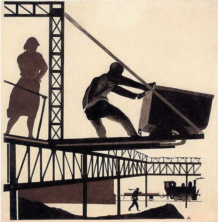 "Alexander Deineka - In the Donbas (Illustration for ""U Stanka""), 1925"