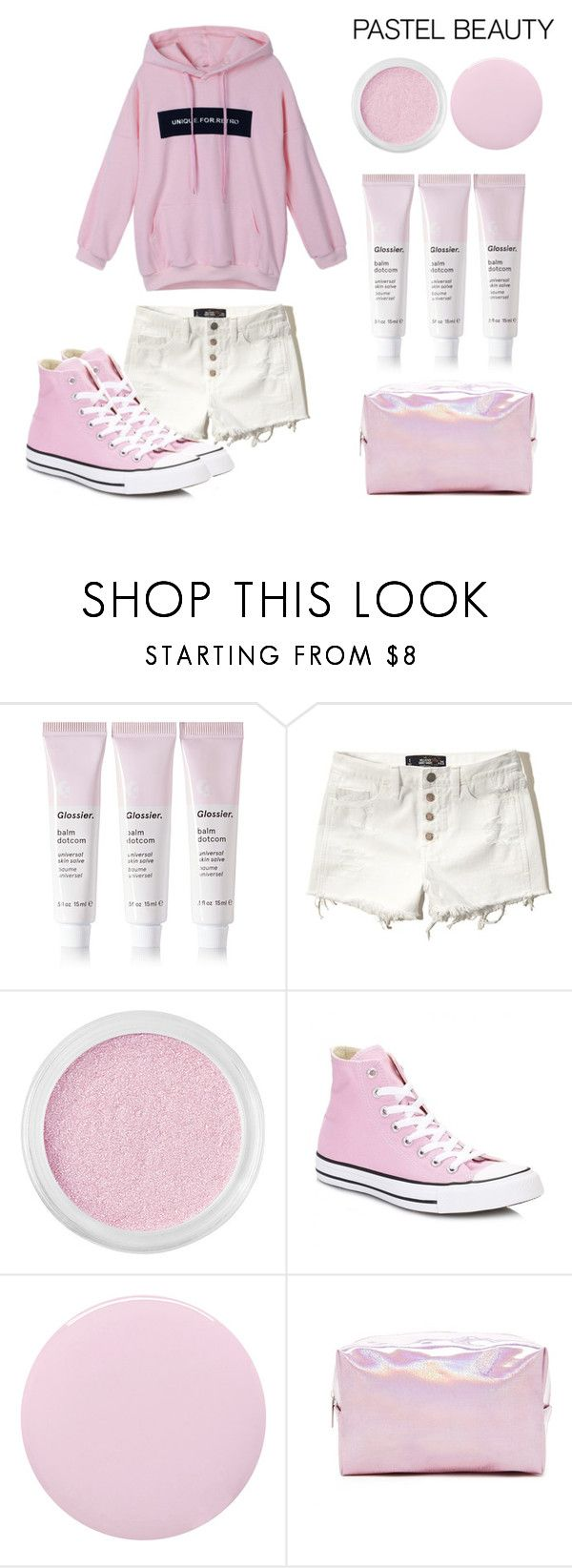 """Pretty Pastel Makeup"" by hideous ❤ liked on Polyvore featuring beauty, Glossier, Hollister Co., Bare Escentuals, Converse, Deborah Lippmann, Forever 21, contest, Pink and prettypastelmakeup"