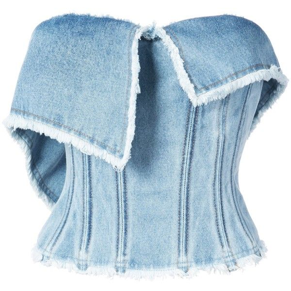 Natasha Zinko Denim Bustier Top ($895) ❤ liked on Polyvore featuring tops, clothing /, denim, kirna zabete, denim top, natasha zinko, blue top, form fitting tops and denim bustier