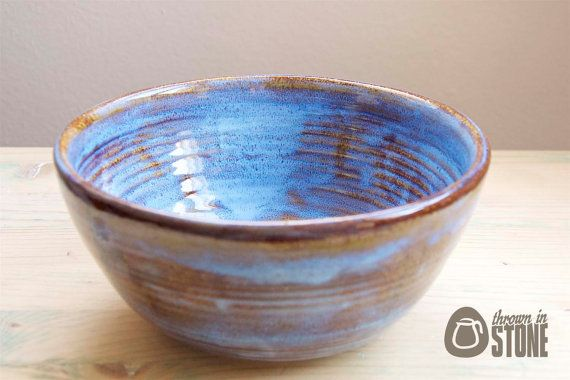 Large Stoneware Bowl - Tan and Ice Blue Serving Bowl - Decorative Bowl - Decorative Dish - Fruit Bowl