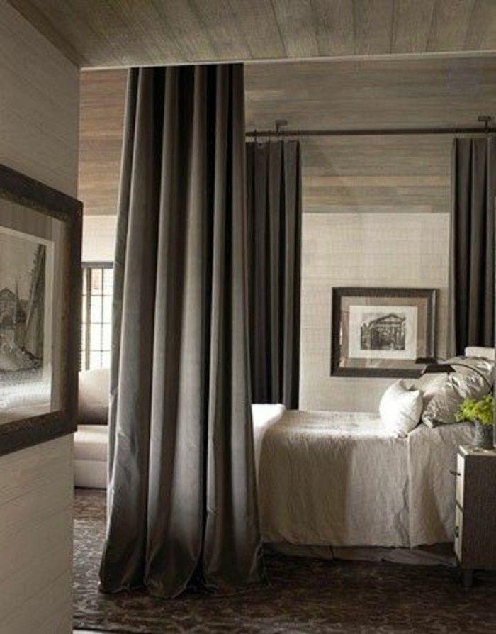 separer le lit deux personnes avec rideaux gris foncé cloison amovible rideau