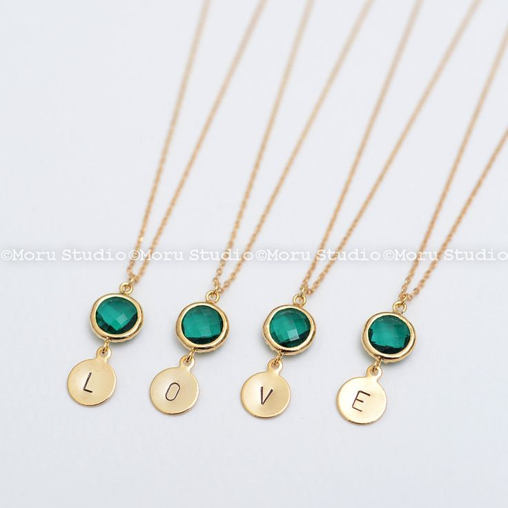 Birthstone Initial Necklace/ Personalized Birthstone Necklace, Bridesmaid Necklace, Wedding Jewelry, New Mom, New Baby Necklace NCR106 by MoruStudio on Etsy