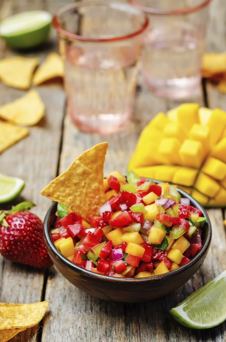 Tangy and fresh, strawberry mango salsa is perfect for plant-based summer barbecues, picnics, or that Memorial Day get-together