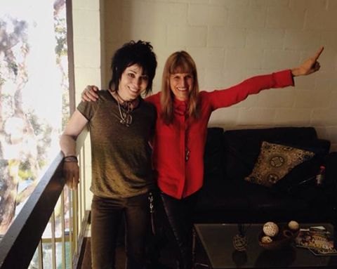Behind-the-scenes on ‪#‎MissYouAlready‬: director Catherine Hardwicke with Joan Jett, who has written a song for the film!