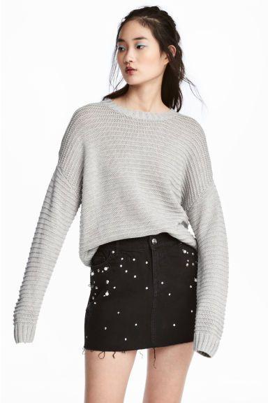 Pulover tricotat texturat - Gri-deschis - FEMEI   H&M RO