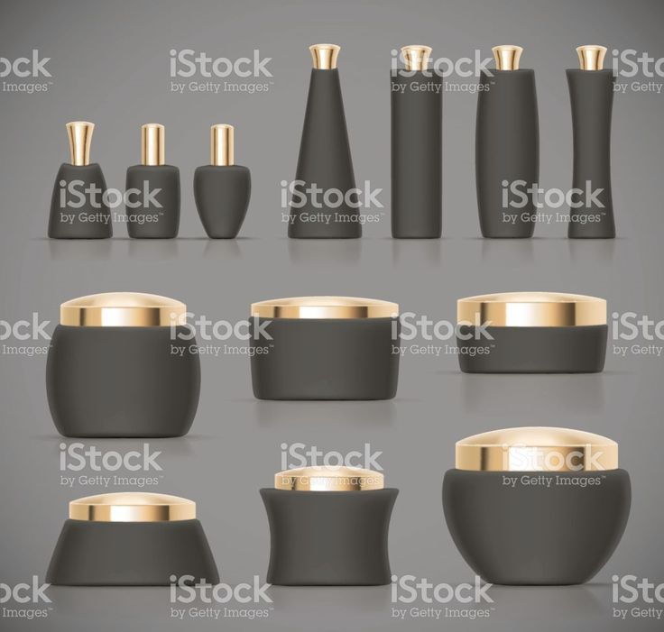 Set of black Luxury cosmetic packaging collection with gold cap royalty-free stock vector art