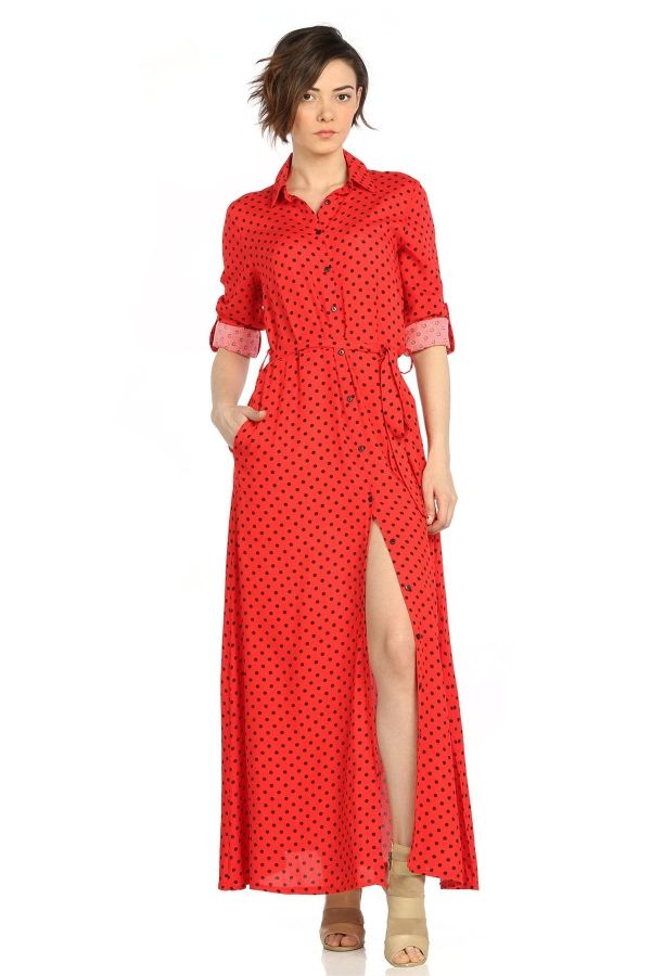 Puantiyeli Uzun Viskon Kirmizi Elbise Kapida Odemeli Ucuz Bayan Giyim Online Alisveris Sitesi Modivera Elbise Moda Stilleri Giyim