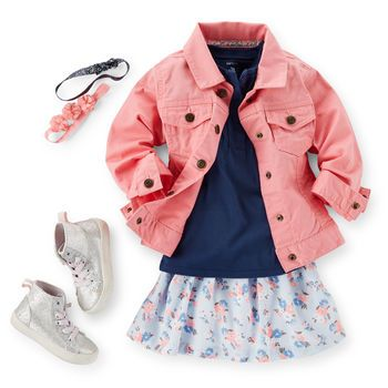 Adorable Florals | I can't imagine a little girl wanting to explore with that jacket on, but I love the lace trim tee and the scooter skirt | At Carter's