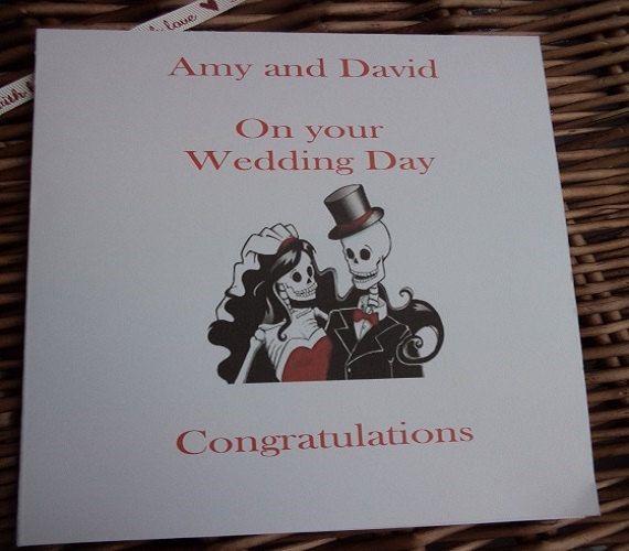 Sugar skull wedding day card dia de los by WendysWeddingCorner