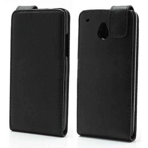 Zwart lederen flipcase hoesje voor HTC One mini