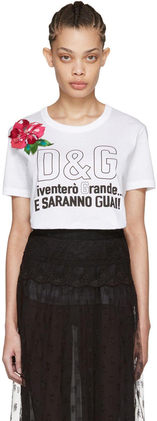 Dolce gabbana white floral t shirt trends for Dolce gabbana t shirt women
