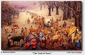 Trail of Tears; Cherokee, Muscogee (Creek), Seminole, Chickasaw, and Choctaw
