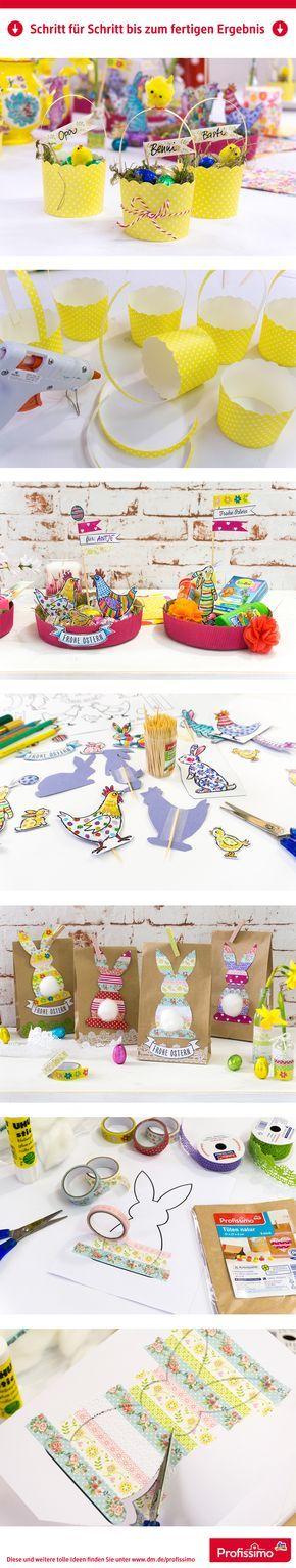 Kleine Ostergeschenke mit Profissimo // Osterkörbchen aus Eis- und Muffinbechern, runde Osternester & Häschen-Tüte als Osternest. // Eine Schritt-für-Schritt Anleitung finden Sie auf dm.de/profissimo-kreativ // #ProfissimoKreativ #basteln #Idee #Kreativ #DIY #Ostern #Verpackung #Osternest #Ostergeschenk #Geschenkverpackung