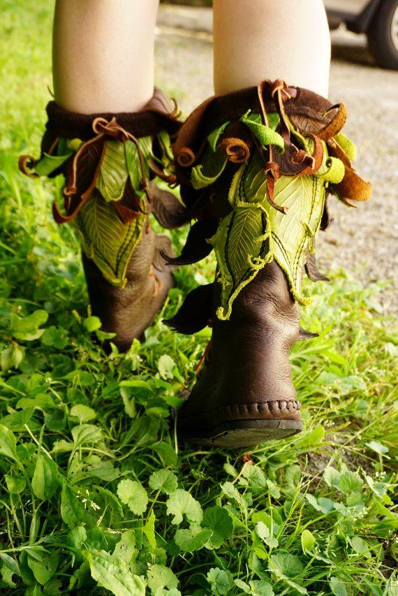 Botte mi-mollet Evolution / main haut mocassin cousu Bullhide cuir avec appliques de feuilles et les pierres / Festival bottes LARP Renaissance Faerie