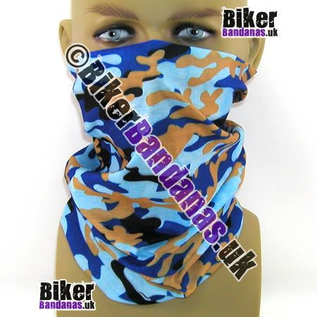 Blue and Beige Camouflage Multifunctional Headwear / Neck Tube Bandana.  One of over 400 Styles for Men and Women