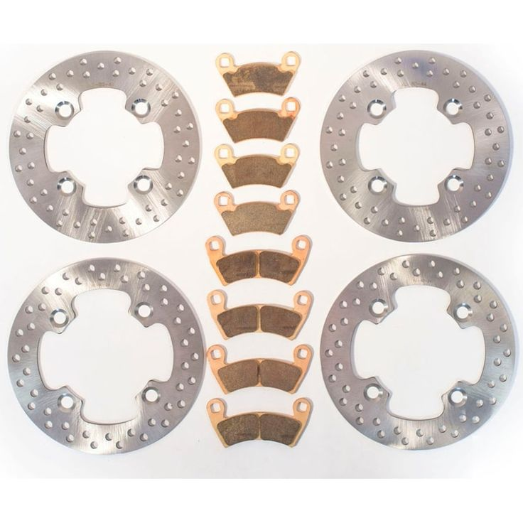 2014 Polaris RZR 4 900 Front and Rear Brake Rotors Discs and Brake Pads, Silver stainless steel