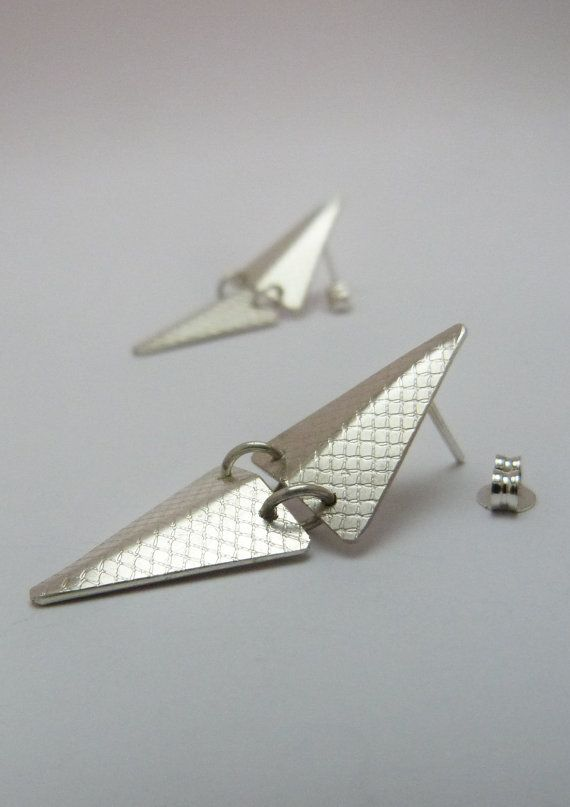 Silver short triangle geometric chandelier stud by LillyOJewellery