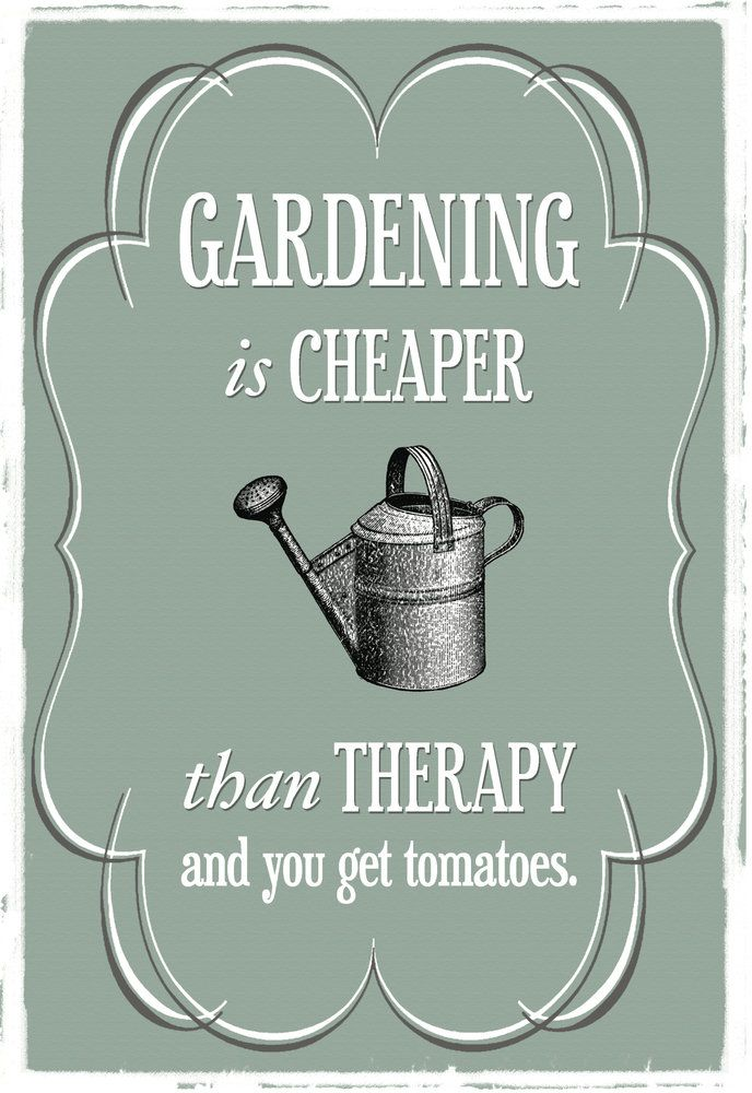 Gardening is Cheaper than Therapy... and you get tomatoes.