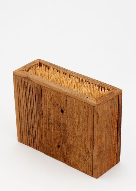 Rustic Wood and Bamboo Knife Holder