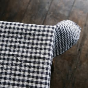 Navy And White Check Tablecloth.