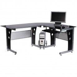 HOMCOM Glass Corner Computer Desk for Home Office Workstation PC