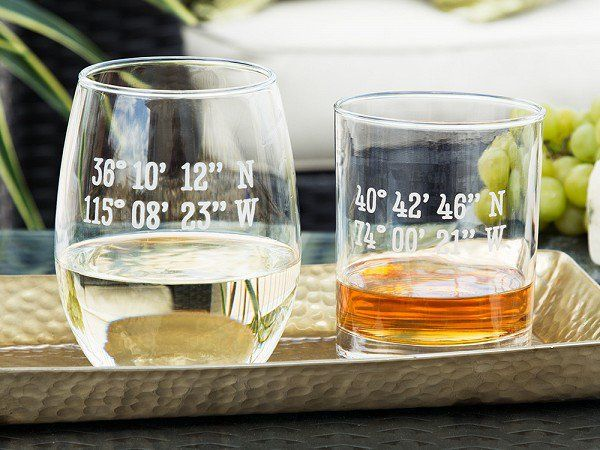 These personalized glasses and mugs, discovered by The Grommet,  have the coordinates of your favorite town, or your initials etched on American-made glassware.
