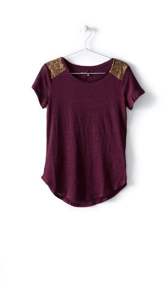 Tee-shirt manches courtes lin epaule sequins femme