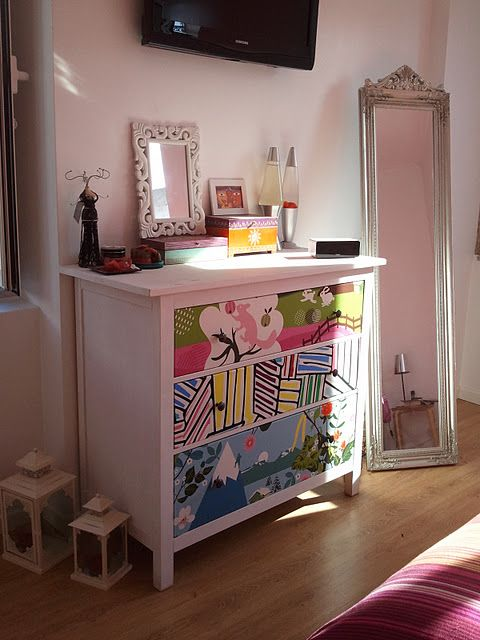 Revamp your HEMNES Chest of drawers - It's about time I redo my dresser and I love the idea of doing it with bright fun  fabric