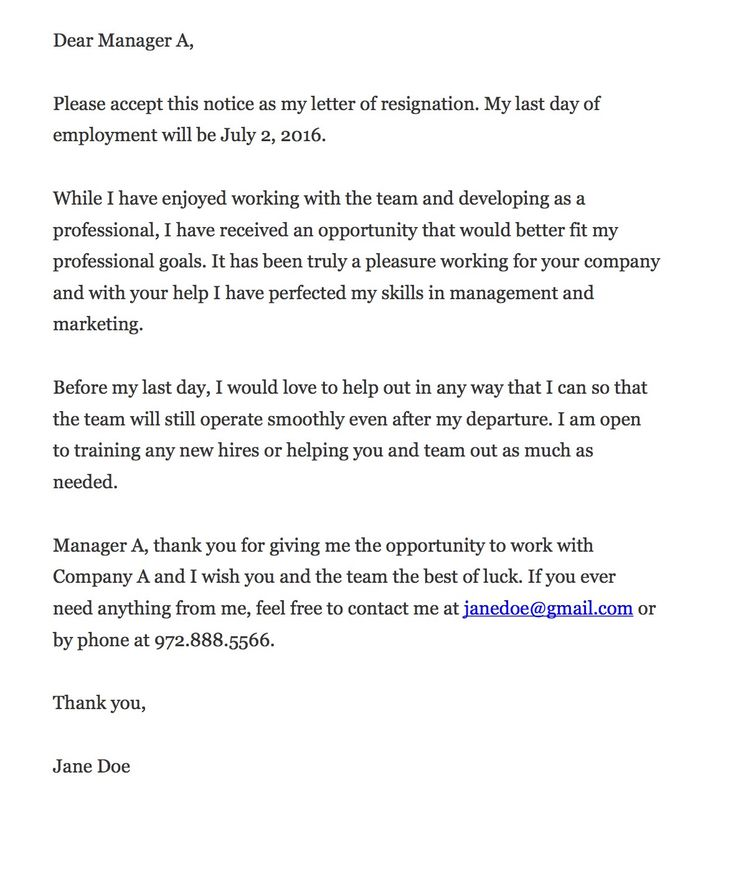 Best Letters Of Resignation  Template