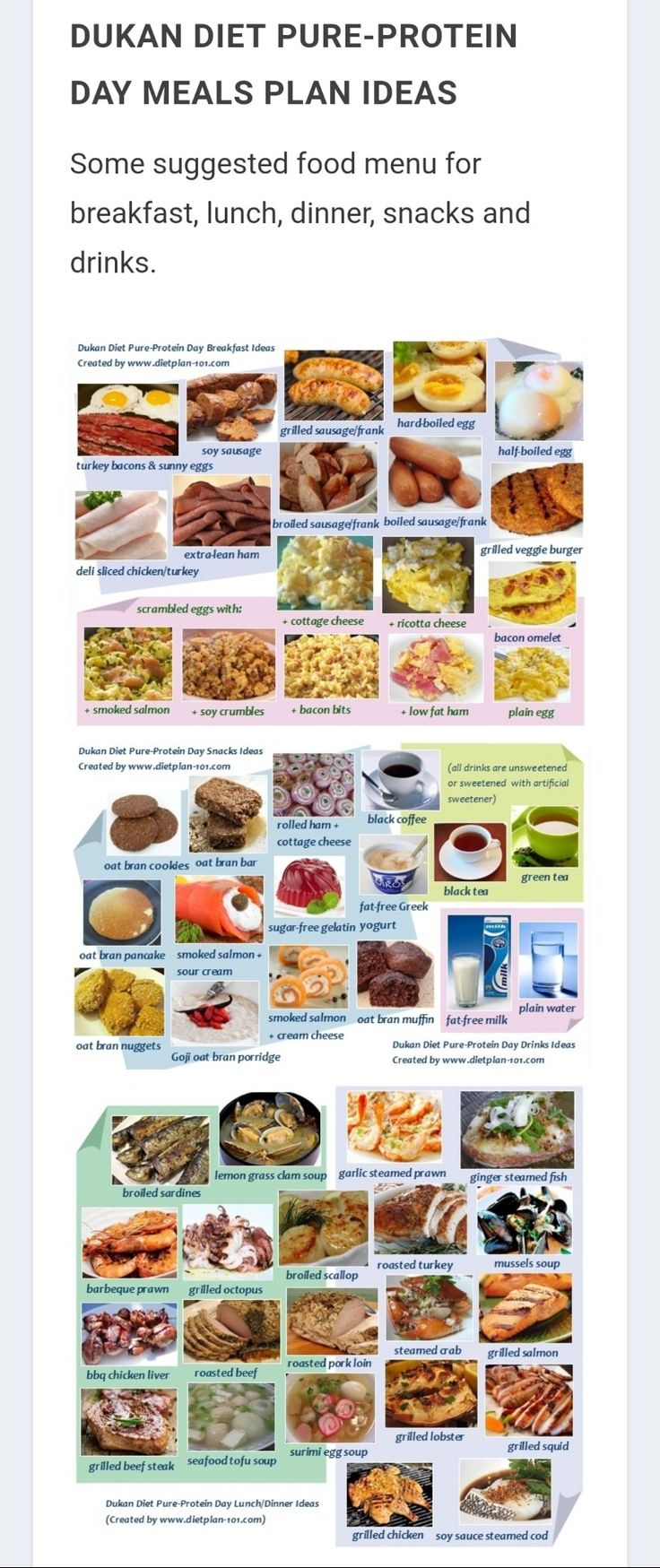Dukan Diet Pure Protein Meal Plan Ideas