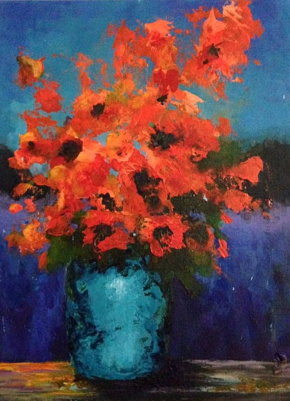Original Painting Orange Floral Over Lavender Field Acrylic 12