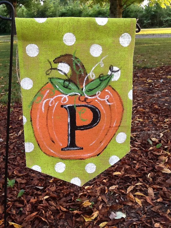 Fall Burlap Yard Flag With Pumpkin And Monogram On Etsy
